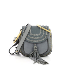 Chloe Hudson Handbag Whipstitch Leather Mini Blue 378586