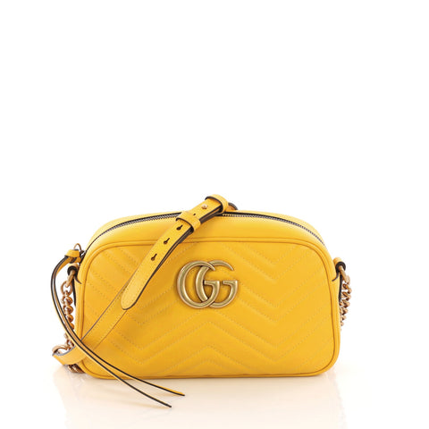 6ba1464d7ea Gucci GG Marmont Shoulder Bag Matelasse Leather Small Yellow 378657 – Rebag