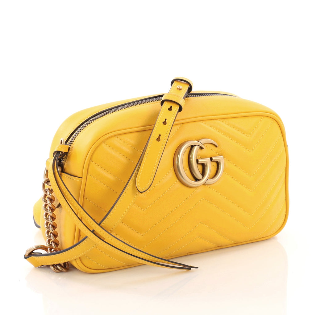 2faaba784 Gucci GG Marmont Shoulder Bag Matelasse Leather Small Yellow 378657 ...