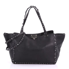 Valentino Rolling Rockstud Tote Leather with Cabochons 378782
