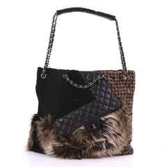 Chanel Karl's Fantasy Cabas Tote Fur and Quilted Leather 379152