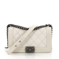 79aceb98efce Chanel Boy Flap Bag Quilted Lambskin Small White 3792144