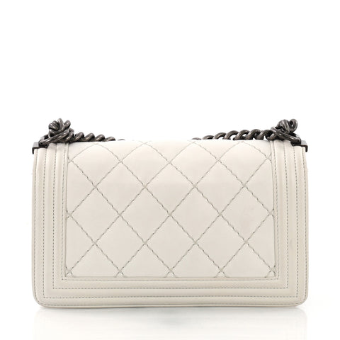 Chanel Boy Flap Bag Quilted Lambskin Small White 3792144 – Rebag 3074cb512d7d0