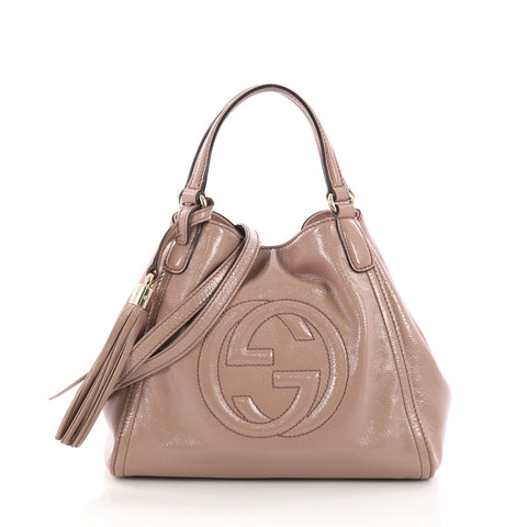 5824df77a53 Gucci Soho Convertible Shoulder Bag Patent Small Pink 3792158 – Rebag