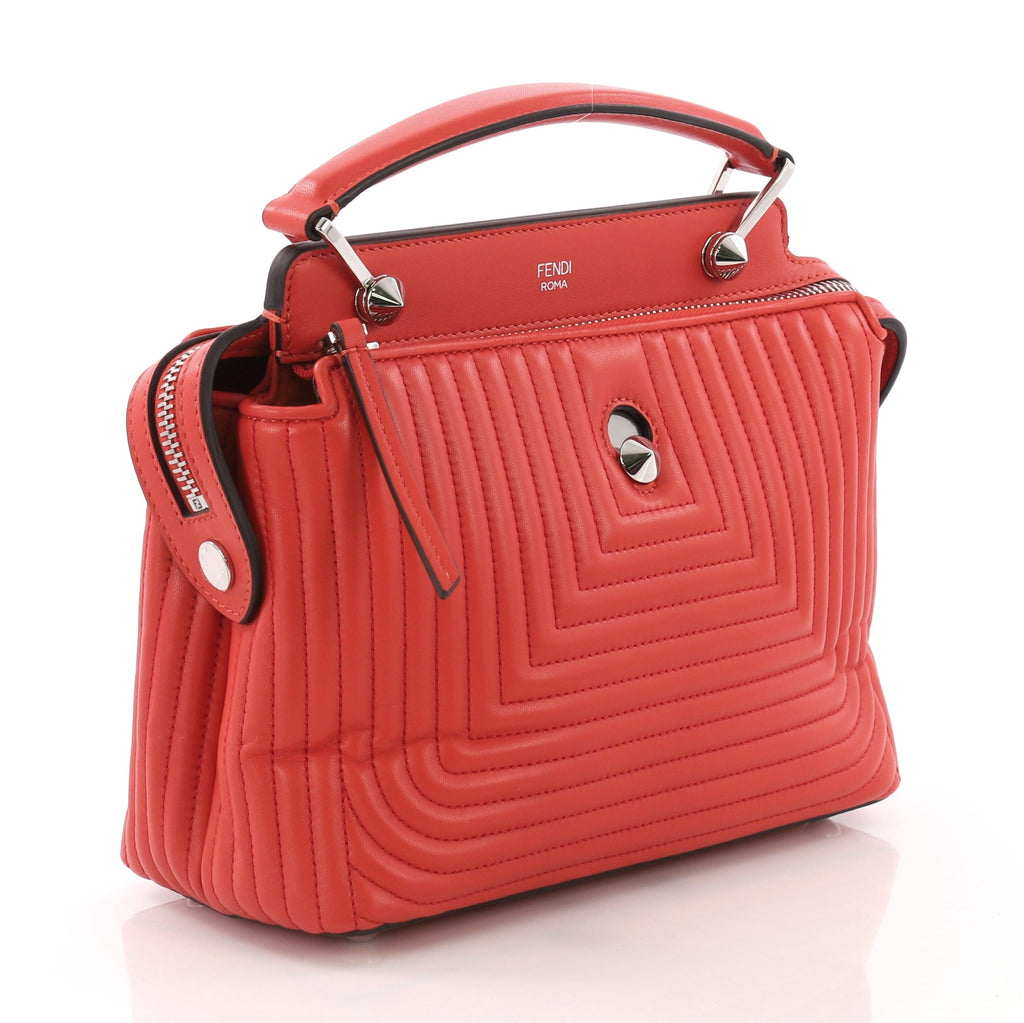 Fendi DotCom Click Top Handle Bag Quilted Leather Small Red 3792163 ... 6665a8f82d0c5