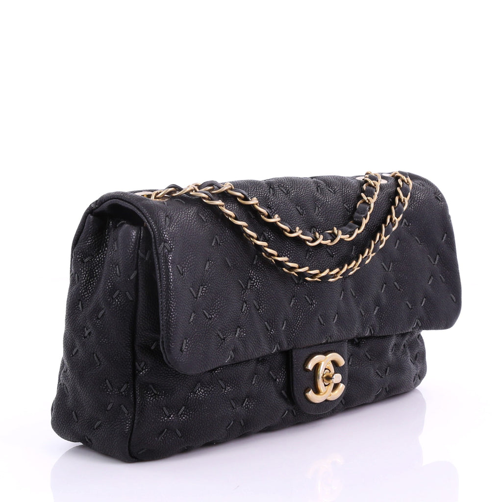 a3b0a0aaa401 Chanel Wild Stitch Flap Bag Quilted Caviar Large Black 3793539 – Rebag