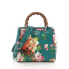 Gucci Bamboo Shopper Tote Blooms Print Leather Mini 3793544