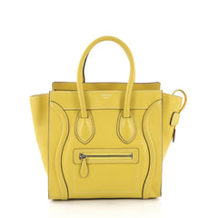Celine Luggage Handbag Grainy Leather Micro - Rebag