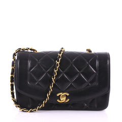 Chanel Vintage Diana Flap Bag Quilted Lambskin Small 3794329