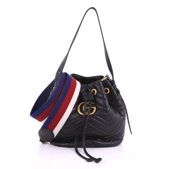 Gucci GG Marmont Bucket Bag Matelasse Leather Small 3794917 b4f8a67c80450