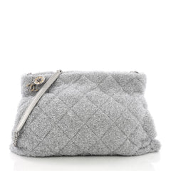 Chanel Shopping Handbag Quilted Knit Pluto Glitter Large 3794930