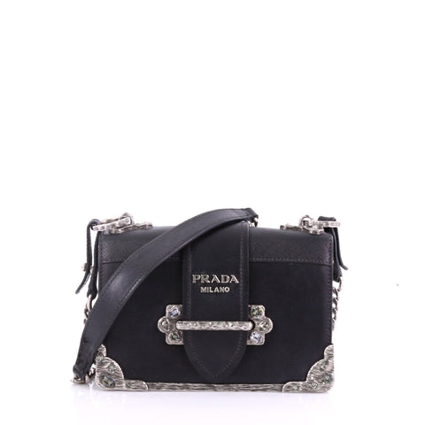 1160f50be0cb Prada Cahier Chain Crossbody Bag City Calf and Saffiano 380141 – Rebag