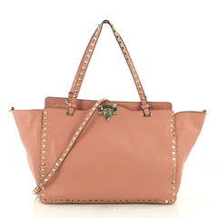 Valentino Rockstud Tote Soft Leather Medium Pink 3803722