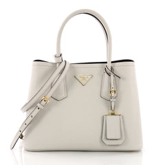 Prada Cuir Double Tote Saffiano Leather Small White 380396