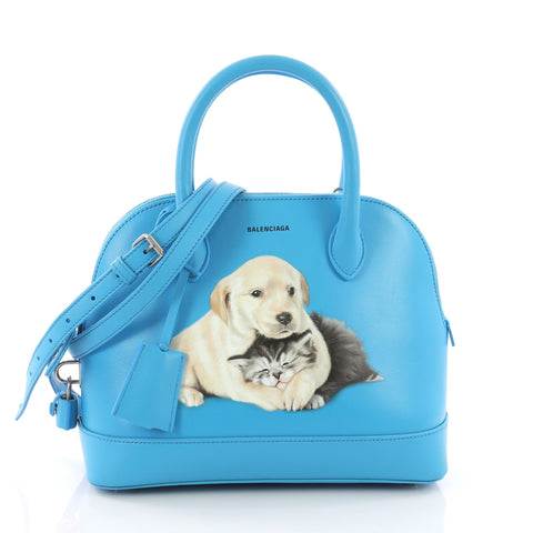 Balenciaga Small Ville Puppy Leather Blue And Bag Kitten 380401 0OwkNP8nX