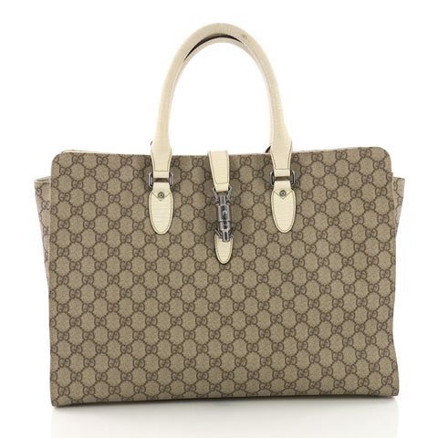 cfbe71078bbe Gucci Jackie Soft Tote GG Coated Canvas Large Brown 380411 – Rebag