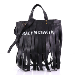Balenciaga Laundry Cabas Tote Fringe Leather XS - Rebag