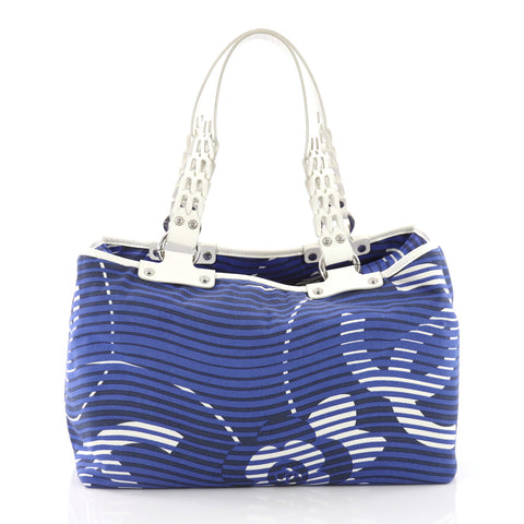 0a2d7ed27128 Chanel Camellia Beach Tote Printed Terry Cloth Large Blue 38145114 – Rebag