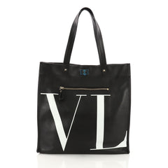 Valentino VLTN Shopping Tote Printed Leather Medium Black 3814586