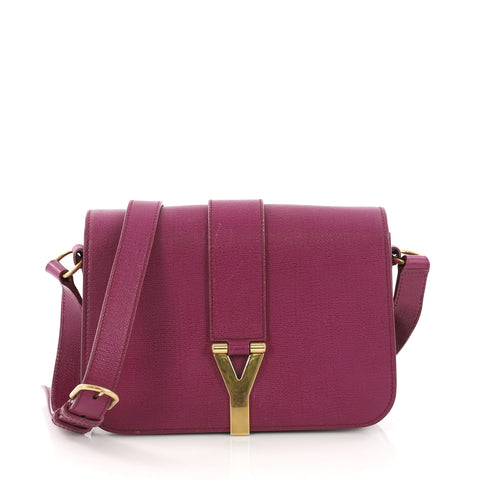 ae3d5f3777 Saint Laurent Chyc Flap Crossbody Bag Leather Medium Purple 381564 – Rebag