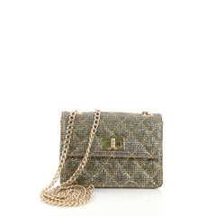 Chanel Mademoiselle Lock Crossbody Bag Quilted Glitter 381581