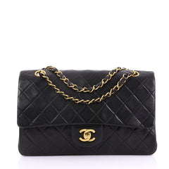 Chanel Vintage Classic Double Flap Bag Quilted Lambskin Medium Black  38218207 d091ae0757cec