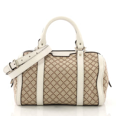 Gucci Vintage Web Boston Bag Diamante Canvas Small