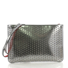Christian Louboutin Loubiclutch Spiked Leather Silver 38218225
