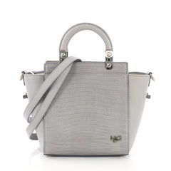 Givenchy HDG Tote Lizard Embossed and Leather Mini Gray 38218243