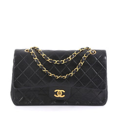 45497a6a4 Chanel Vintage Classic Double Flap Bag Quilted Lambskin Medium Black  38218250