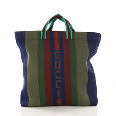 Gucci Logo Tote Woven Rubber Large Blue 382187