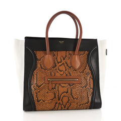 Celine Tricolor Luggage Handbag Python and Leather Medium Brown 3821889