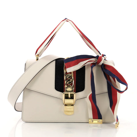 22607f411ac1 Gucci Sylvie Shoulder Bag Leather Small White 3822001 – Rebag