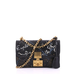 Christian Dior Dioraddict Flap Bag Painted Leather Small Black 382434