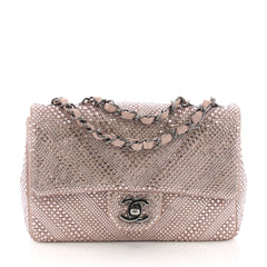 Chanel CC Flap Bag Strass Embellished Leather Small Pink 382435