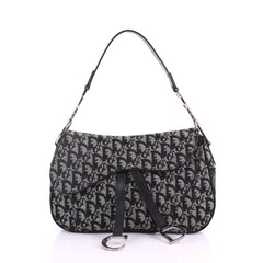 9493eb46fb54 Christian Dior Vintage Double Saddle Bag Diorissimo Canvas Black 382491