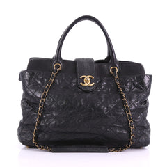 Chanel Bindi Tote Quilted Leather with Stingray Large Black 382608