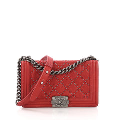 Chanel Boy Flap Bag Quilted Studded Distressed Calfskin Red 382609