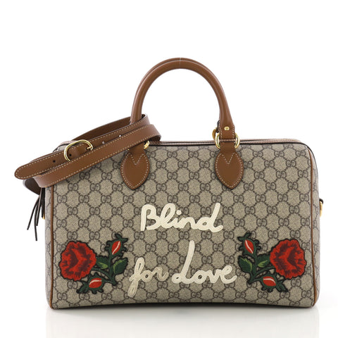 d7f074d224f6 Gucci Convertible Boston Bag Embroidered GG Coated Canvas 382651 – Rebag