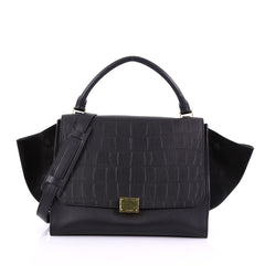 Celine Model: Trapeze Handbag Crocodile Embossed Leather Medium Black 38281/19