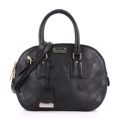 Burberry Orchard Bag Check Embossed Leather Small Black 382881