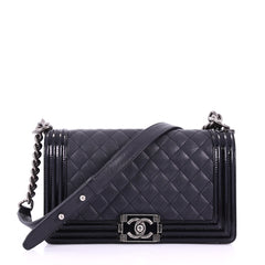 Chanel Boy Flap Bag Quilted Goatskin with Patent Old Black 383015