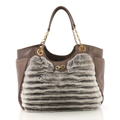 ... Crossbody Bag Leather Small  630 · Salvatore Ferragamo Betulla Chain  Tote Leather and Fur Brown 383822 f6c7b5b3c7b9f