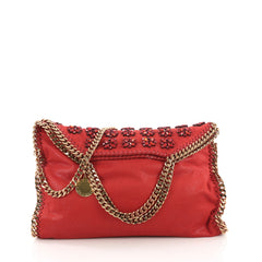 Stella McCartney Falabella Fold Over Bag Embellished Red 384002