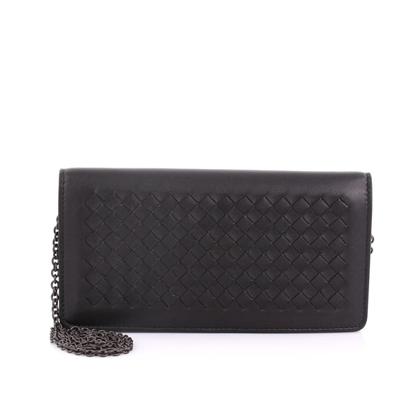 6b1286e5cc4ba Bottega Veneta Wallet on Chain Intrecciato Nappa Black 384101 – Rebag