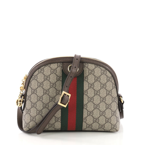 eb34faa4c2f Gucci Ophidia Dome Shoulder Bag GG Coated Canvas Small Brown 384131 – Rebag