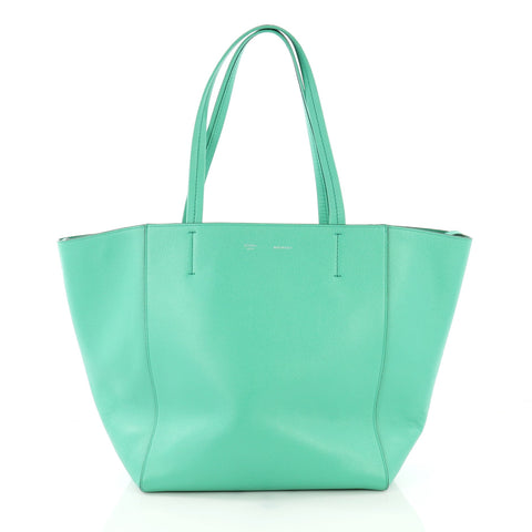 c921df6deae3 Celine Phantom Cabas Tote Leather Small Green 3841837 – Rebag