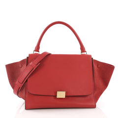 Celine Trapeze Handbag Leather Medium Red 3841840