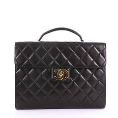 Chanel Vintage CC Briefcase Quilted Lambskin Large Black 384387
