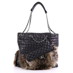 Chanel Model: Karl's Fantasy Cabas Tote Fur and Quilted Leather Black 38440/104